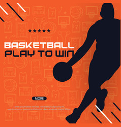 basketball banner with players modern sports vector image