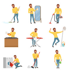 Bearded man with different household chores vector