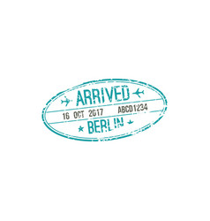 berlin airport oval arrival stamp plane and date vector image
