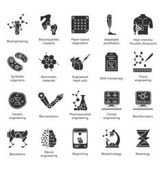 Bioengineering glyph icons set biotechnology new vector