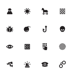 Black simple flat icon set 7 vector