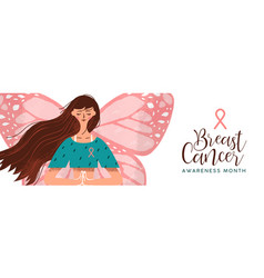 breast cancer awareness pink butterfly woman vector image