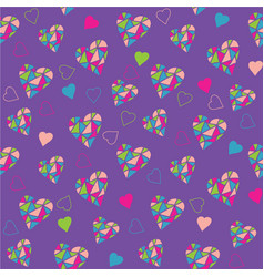 bright purple seamless pattern with hearts vector image