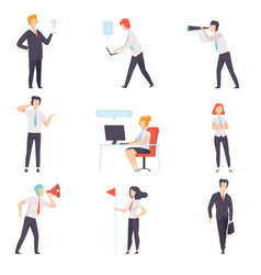 businessmen and businesswoman set successful vector image