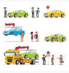car evacuation elements set vector image