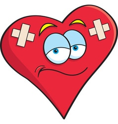 Cartoon heart with bandages vector image