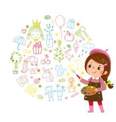 cartoon little girl artist vector image