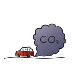 Cartoon red car blowing exhaust fumes color vector