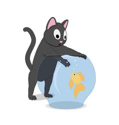 cat and fish in the aquarium vector image