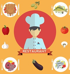 Chef restaurant menu vector