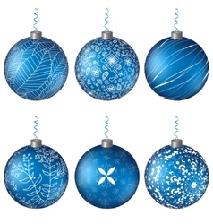 Christmas set blue balls background vector image