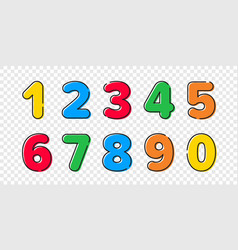 colorful cartoon numbers font set with outline vector image