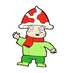 comic cartoon mushroom man vector image vector image