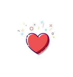 concept heart icon thin line flat heart design vector image