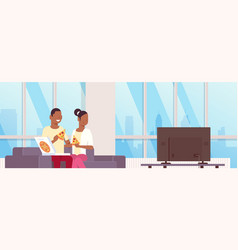 Couple eating pizza african american man woman vector