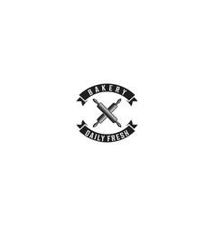 crossed rolling pin vintage bakery logo designs vector image