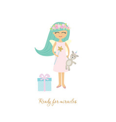 cute little girl with toy unicorn isolated on vector image