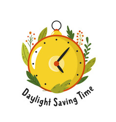 daylight saving time abstract design with clock vector image