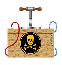 Detonating fuse with danger sign skull symbol vector