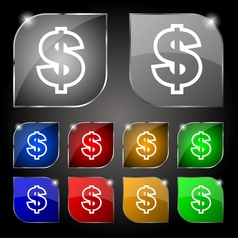 Dollar icon sign Set of ten colorful buttons with vector image