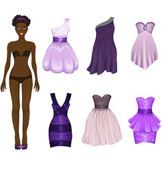 Dress-up doll with an assortment of purple prom vector