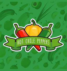 emblem with colorful peppers vector image