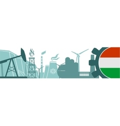 Energy and Power icons set Hungary flag vector