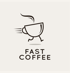 fast coffee logo running coffee cup on white vector image