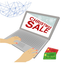 female hands on laptop with christmas sale text vector image