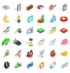 Financial injection icons set isometric style vector