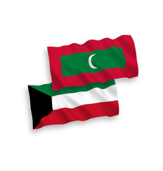 Flags maldives and kuwait on a white background vector