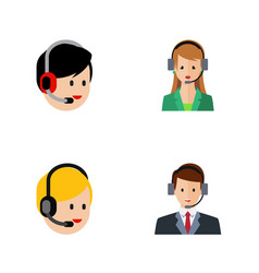 Flat icon call set of hotline call center vector