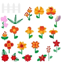 Flower set in a flat style Flower set Spring vector image