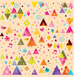 fun triangles funky cartoon retro pattern vector image