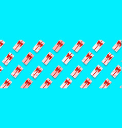 gift boxes pattern with long present boxes red vector image