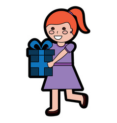 giril with gift box icon image vector image