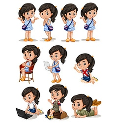 Girl in different actions vector