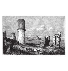 Godesburg volcanic origin vintage engraving vector