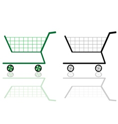 Green and black shopping cart vector