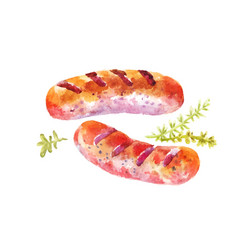 Grilled sausages hot dogs or sausages cooked on vector