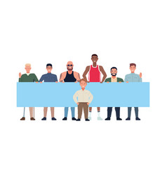 Group perfectly imperfect men lifting banners vector