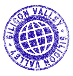 Grunge textured silicon valley stamp seal vector