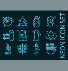 Halloween icons blue glowing neon style vector