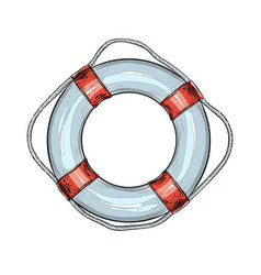 hand drawn sketch of lifebuoy in red and blue vector image