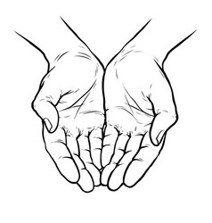 Hands cupped together sketch vector