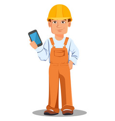 Handsome builder in uniform vector
