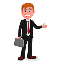 Happy businessman presenting vector