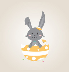 Happy easter day with black easter rabbit vector