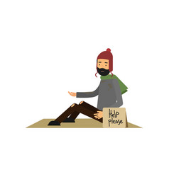 homeless man in ragged clothes sitting on street vector image