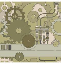 horizontal steampunk gear seamless pattern vector image